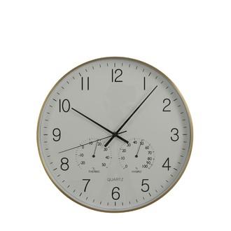Horloge ronde blanche et laiton thermomètre hygromètre 40cm