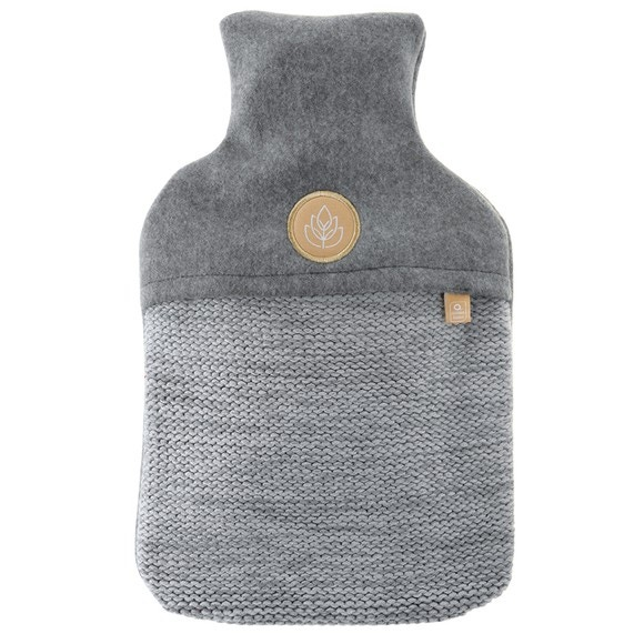 Borsa d'acqua calda tricot grigio 2 litri