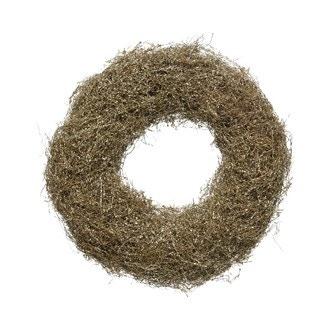 Décoration de noël couronne herbes à paillette marron d35cm