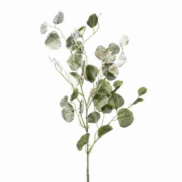 Branche artificielle eucalyptus vert givré 85cm