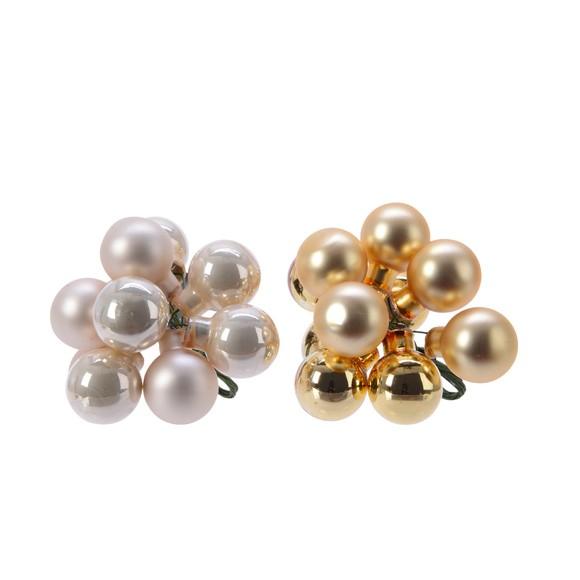 Décorations boules en verre or et perle pour couronne