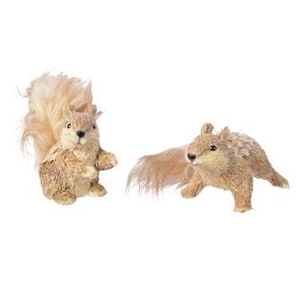 Ecureuil en paille et queue peluche