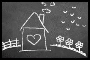 Achat en ligne Tapis d'intérieur 40x60cm en polyamide imprimé dessin de maison