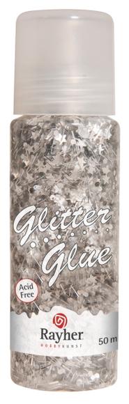 Achat en ligne Glitter glue argent cœur etoiles