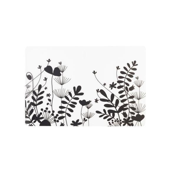 Tovaglietta americana rettangolare silicone fiori nero 30x45cm