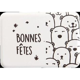 Set décor bûche chocolat blanc ours polaire 50g