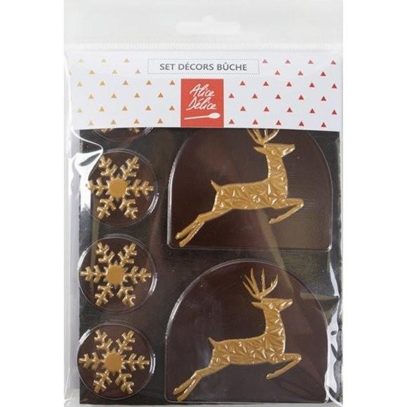 Set décor bûche chocolat noir cerf 50g