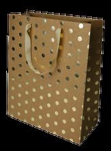 Achat en ligne Sac cadeau kraft pois dore 26+12X32cm