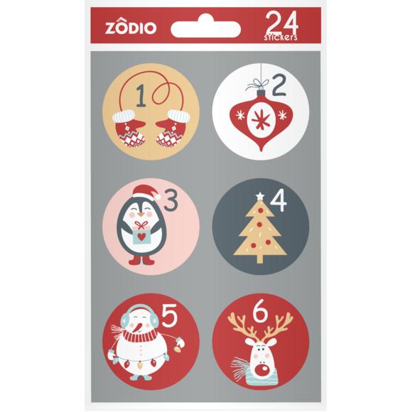 24 stickers enfant Calendrier de l'Avent