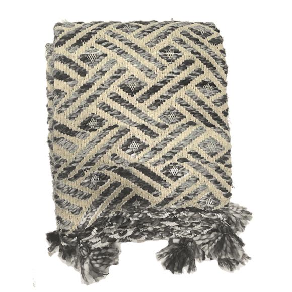 acquista online Plaid in fibra sintetica con pompons grigio 125x150cm