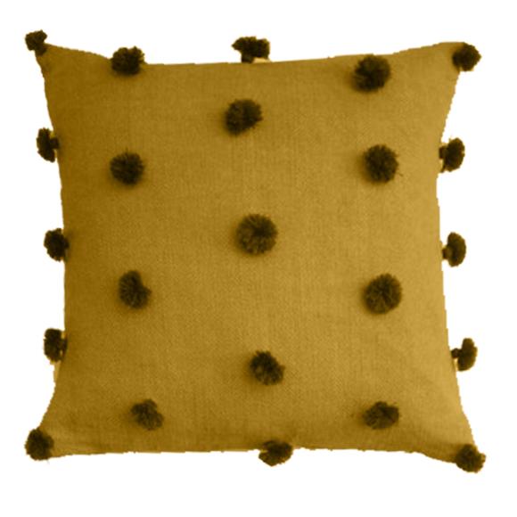 Cuscino quadrato in cotone pompons curry 40x40cm