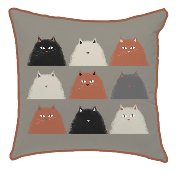 Cuscino quadrato in cotone stampato marrone 40x40cm