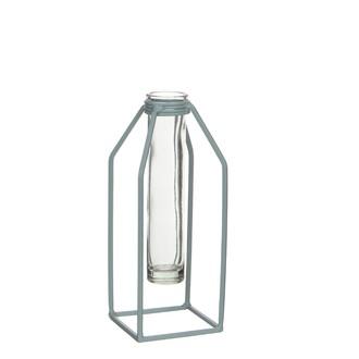 Vase tube essais support métal vert dhaka 8xb8xh20cm
