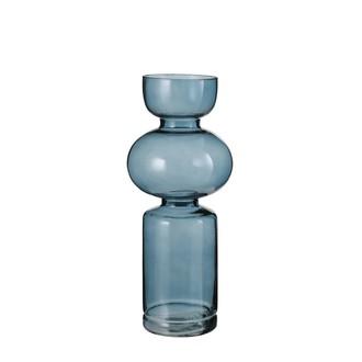 Vase en verre bleu frey 35x14,5cm