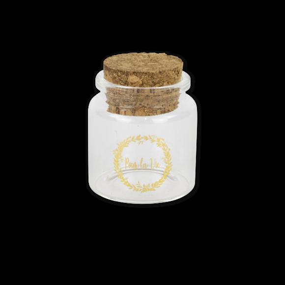 Fiole en verre avec bouchon en liège Pour la vie or 4,5x5,5cm