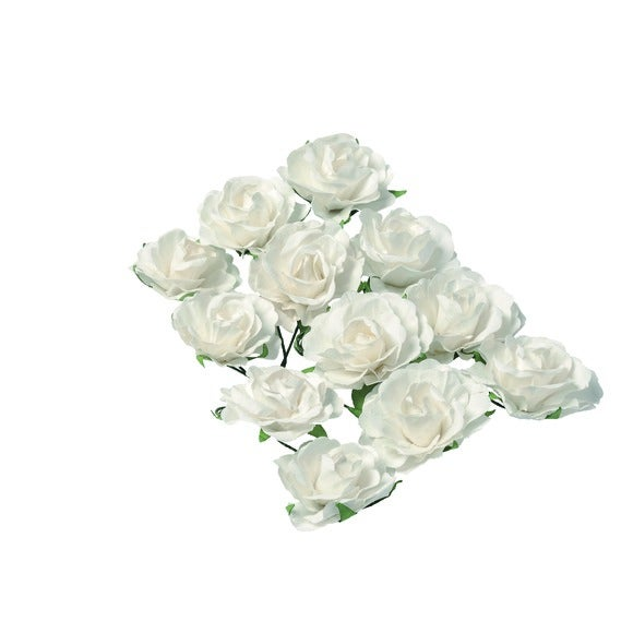 Rose sur tige blanche 3,5cm