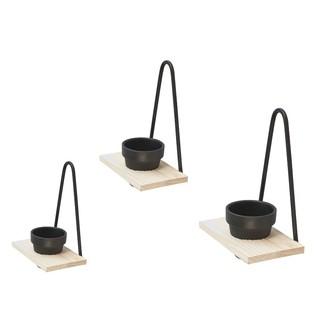 3 étagères pots de fleur noir bois et métal 15x13x8cm