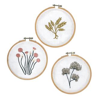 3 cercles à broder fleurs 15cm