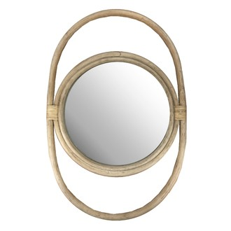 Miroir double rotin 27x43cm