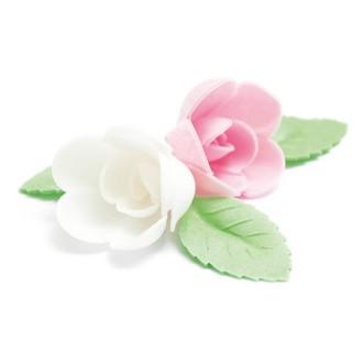4 roses assorties+ 6 feuilles verte azyme 28g