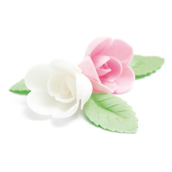 4 roses assorties+ 6 feuilles verte azyme