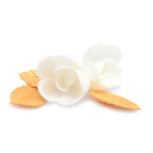 4 roses blanches+ 6 feuilles dorées azyme