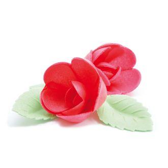 4 roses rouges +6 feuilles vertes azyme 28g