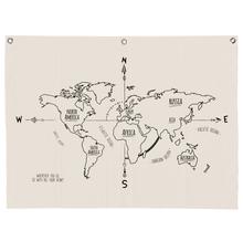 Achat en ligne Kakemono mappemonde en lin avec œillets 120x90cm