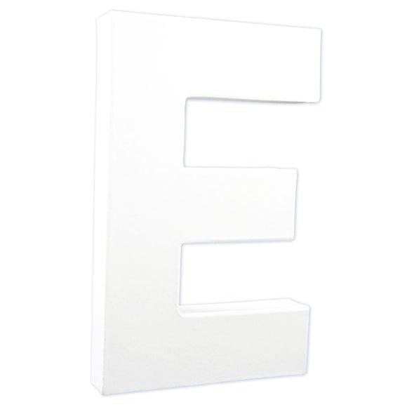 Lettre E à décorer en papier mâché blanc 20cm