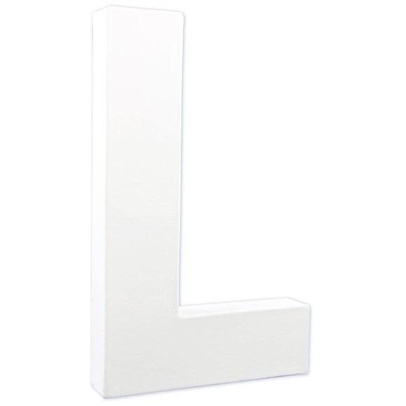 Lettre L à décorer en papier mâché blanc 20cm
