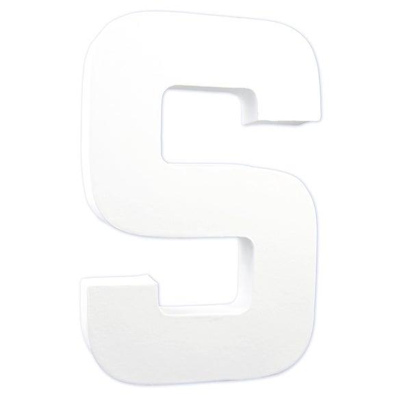 Lettre S à décorer en papier mâché blanc 20cm