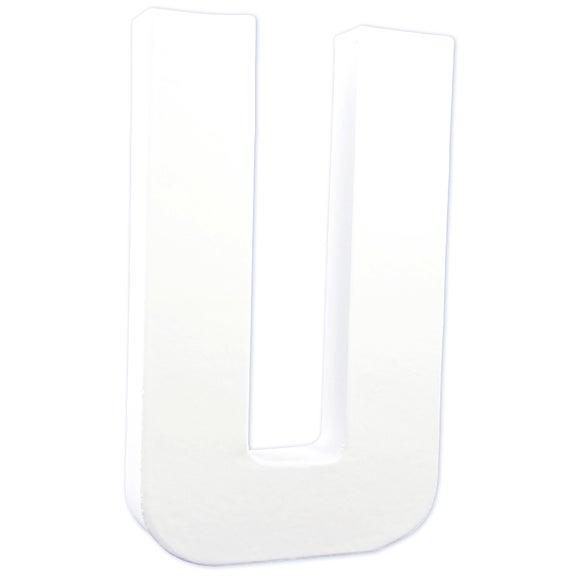 Lettre U à décorer en papier mâché blanc 20cm