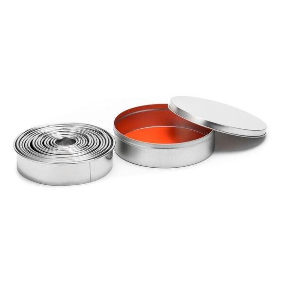 Set de 14 emporte-pièces ronds lisses en inox de 3,5 à 11cm