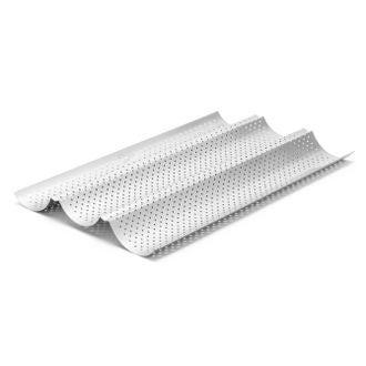 Moule 3 baguettes perforé antiadhérent en aluminium 38cm
