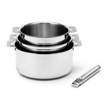 Achat en ligne Set de 3 casseroles mutines avec poignée amovible 20cm