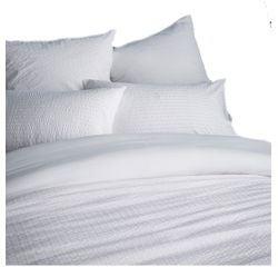 compra en línea Funda de almohada de percal Seersucker blanco (65 x 65 cm)