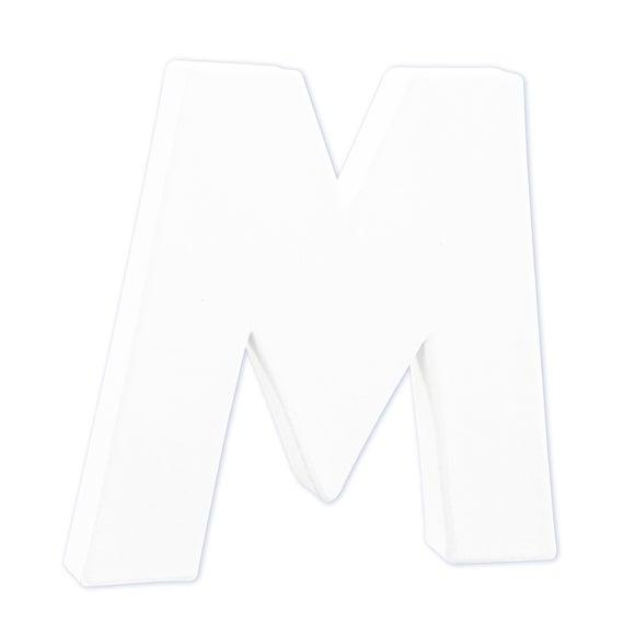 Lettre M à décorer en papier mâché blanc 12cm
