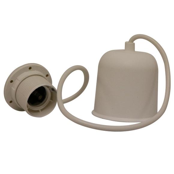 Achat en ligne Cable électrique blanc douille E27 pour suspension lampe