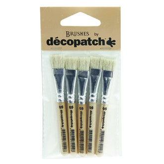 DECOPATCH - Set de 5 pinceaux à colle en pure soie n°05 1cm