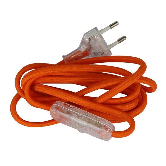 Achat en ligne Cordon en coton avec fiche et interrupteur orange