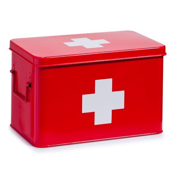 Scatola metallo rosso per farmaci 32x19,5x20