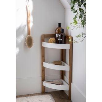 Etagère de salle de bain d'angle 3 paniers en bambou