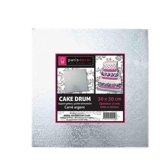 compra en línea Soporte de cartón plateado de tarta Patisdecor (30 x 30 x 1,5 cm)