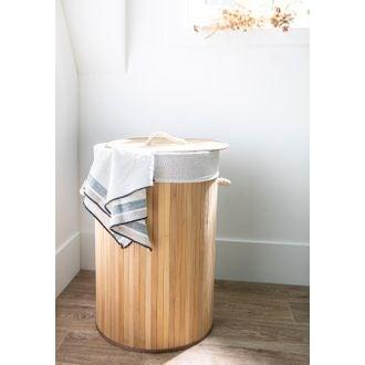 Portabiancheria in bamboo cilindrico, h55cm