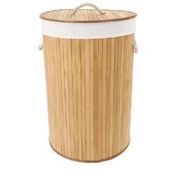 compra en línea Cesto para la ropa redondo en bambú natural