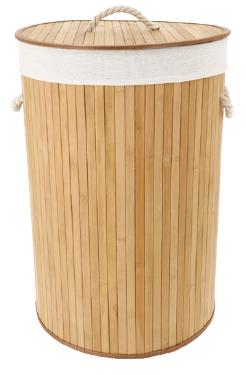 Panier à linge rond en bambou naturel