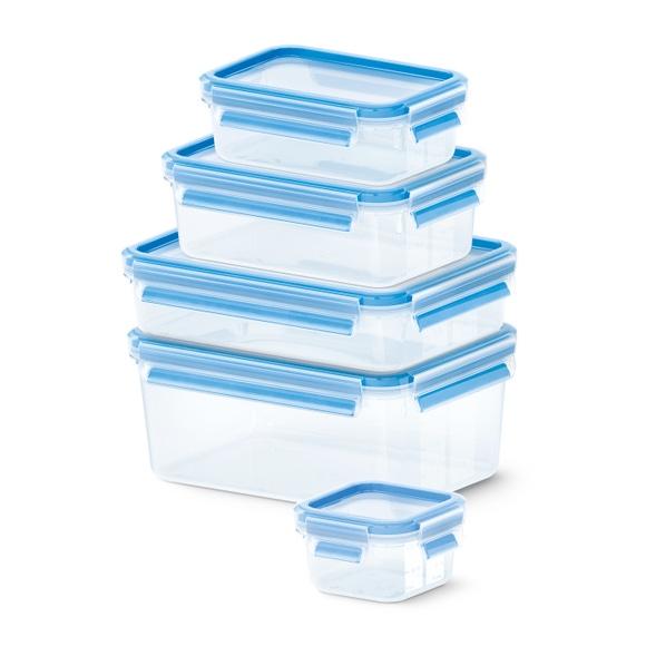 Achat en ligne Lot 5 boites conservation plastique 0,25L/0,55L/1L/1,2L/2,3L