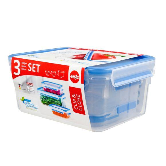 Lot 3 boites conservation plastique Clip&Close 0,55L/1L/2,3L