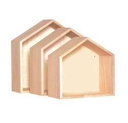 Achat en ligne Set 3 étagères maison en bois brut 24x23cm 27x25cm 30x29,5cm