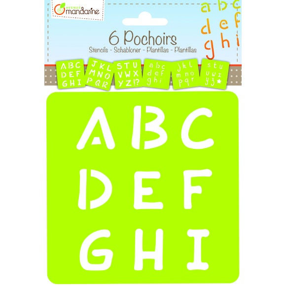 Set de 6 pochoirs alphabet 15x15cm